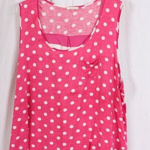 Pleiono 3X pink/white dotted and striped tank top
